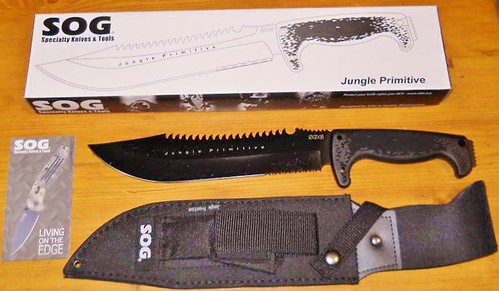 "SOG F03T Jungle Primitive Fixed 9.5"" Black Sawback Blade, Kraton Handles, Nylon Sheath"