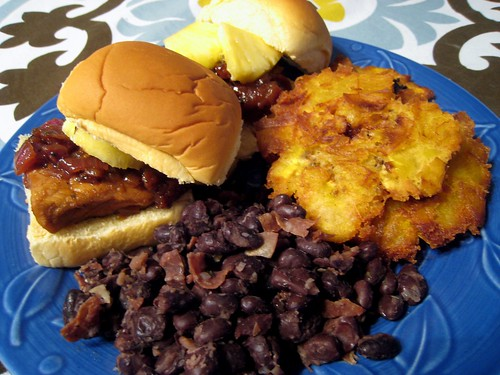 Cuban sliders, black beans, and tostones