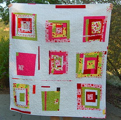 "A's Birthday quilt- ""pass the cherries please"" (bloomingpoppies) Tags: red cherries wonky freepieced dsc0406 whitesashing"