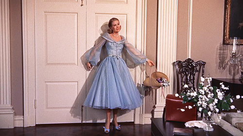 high society grace kelly vintage 50s blue dress chiffon sleeves basket flowers