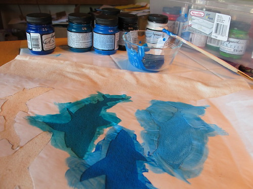Freezer paper stenciling some sharks