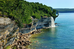 """Spray Falls"" Michigan's Pictured Rocks National Lakeshore (Michigan Nut) Tags: usa nature landscape geotagged waterfall nationalpark cove michigan cliffs greatlakes lakesuperior sprayfalls picturedrocksnationallakeshore hikingmichigan nikonnikkor70300mmf4556gedifafsvrtelephotozoomlens july32011 beaverbasinwilderness"