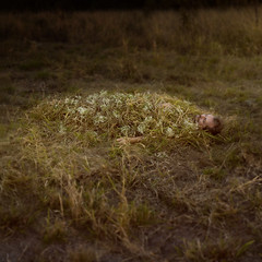 overcome (Ingrid Endel) Tags: flowers sleeping portrait white man nature grass death taken rest conceptual defeat acceptance overcome texturebylesbrumes