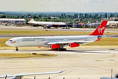 G-VELD Airbus A340-313X Virgin Atlantic Airways LHR 15AUG00 (Ken Fielding) Tags: gveld airbus a340313x virginatlanticairways aircraft airplane airliner jet jetliner widebody