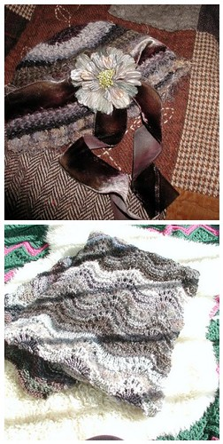Dove and Moth Grey hat and scarf / shawl by megan_n_smith_99