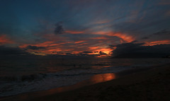 setting sun (bluewavechris) Tags: ocean sunset sea sky mountain color beach water clouds volcano hawaii magic scenic maui