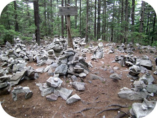 Trail art in the form of rock cairns--hikers can get rather creative with rocks