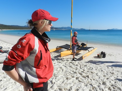 Jess is all kitted out in her Hobie gear, ready to race Ben