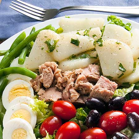 Classic Salade Nicoise with French Potato Salad, Tuna, Olives, Tomato, Green Beans, and 