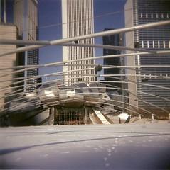 Millennium Park (Hoeski) Tags: winter snow chicago cold buildings holga footprints