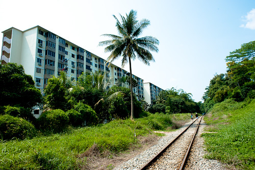 Approaching the Commonwealth flats along the KTM railway tracks