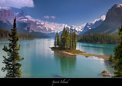 "Spirit Island in Summer-another love affair (Joalhi ""Back in Miami"") Tags: blue lake photography boat jasper jocelyn alberta hidalgo malignelake spiritisland supershot canon5dmarkii coth5"