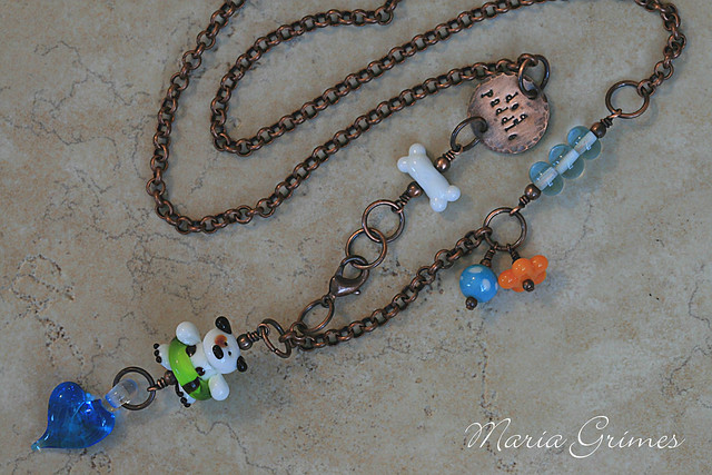 Lampwork Dog Paddle Necklace
