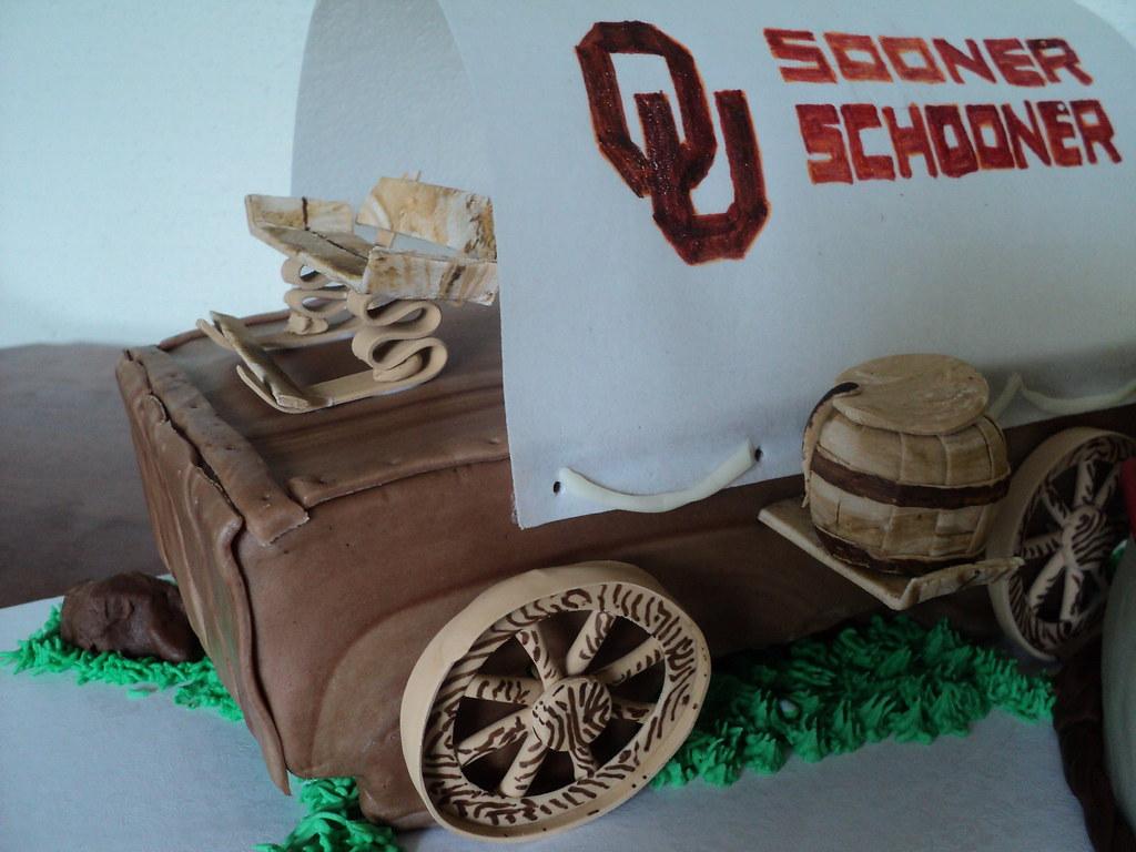 Cowgirl and conestoga wagon cake