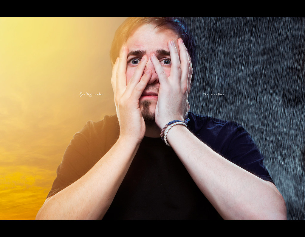 Project 365, Day 345, 345/365, Self Portrait, strobist, sun, rain, switching conditions, feeling under the weather, warm, cold, sun, rain, headache, Canon EF 24-70 f2.8,
