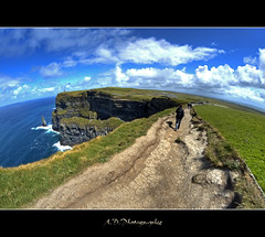 Cliffs Of moher (Alexis.D) Tags: sky people irish cliff green island irland eire fisheye burren 8mm falaise aran hdr chemin moher irlande photomatix samyang
