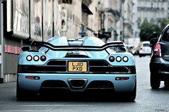 See you later ! (Pierre Legrand) Tags: summer paris france car photography one al nikon pierre turquoise july sigma special arab 300 thani avenue 70300mm 70 juillet supercar f4 koenigsegg montaigne 70300 d300 2011 legrand worldcars ccxr