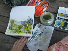 Sketch before breakfast in a process. (Nik Ira) Tags: watercolor landscape sketch upstate ira tqp