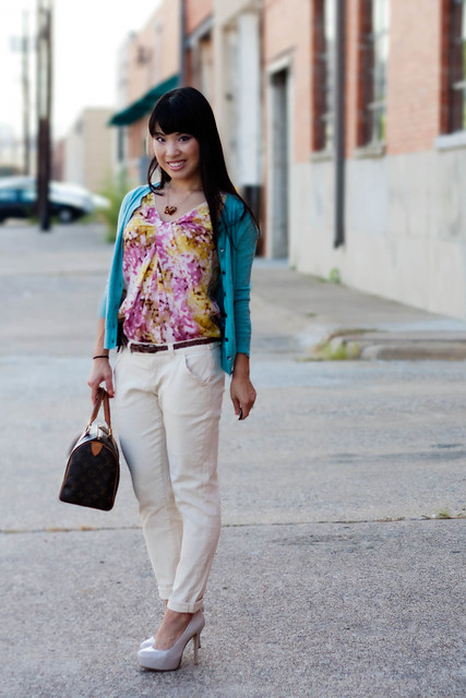 banana republic light blue cardigan loft abstract print floral shell forever 21 cream twill pants marco santi dash nude pumps sole society louis vuitton speedy 25 petite fashion