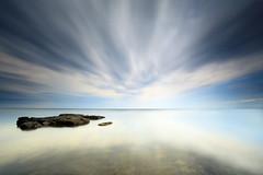 infinity (Dan. D.) Tags: ocean sea sky cloud seascape beach water rock canon landscape long wide playa exposition nd 5d mkii 1635mm 10stop