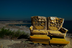 Salton Seating (Noel Kerns) Tags: california sea abandoned beach night lazboy salton
