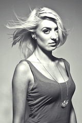 it's hot outside. (Chlobot) Tags: portrait bw woman girl lady necklace hellokitty blonde windblown clavicles