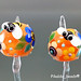Earring : Orange & Yellow Bee Blossom Flower
