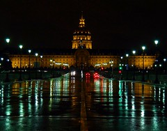 Landmarks at night of Paris (jackfre2) Tags: red paris france green cars rain night reflections gold eiffeltower perspective landmarks dome handheld notripod lampposts pouringrain domedesinvalides wow1 wow2 wow3 doublyniceshot coth5 mygearandme dblringexcellence tplringexcellence artistoftheyearlevel3 2crazyphotographfreaks carlosvieiraandjackfreund