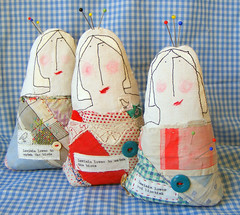 pin cushions (hens teeth) Tags: uk pin handmade feedsack pincushion