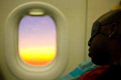 Missing Out (Universal Stopping Point) Tags: sleeping window sunrise airplane colorful passenger eyemask turkishairlines