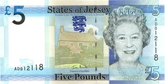Front of Jersey £5 bank note 2011