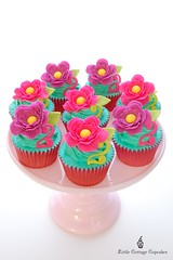Flower Power! (Little Cottage Cupcakes) Tags: birthday flowers cupcakes turquoise limegreen mauve hotpink fondant sugarpaste littlecottagecupcakes