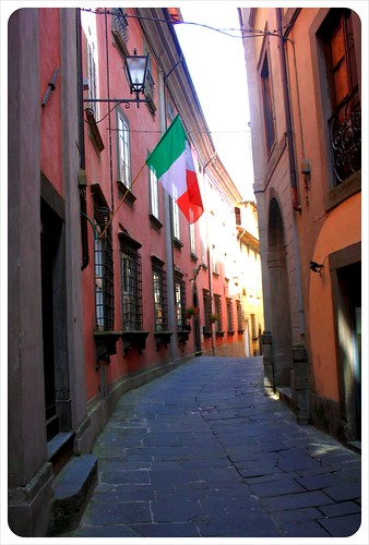 Barga alley with flag