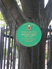 Photo of William Carey green plaque