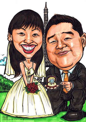 Wedding couple caricatures proposal at Eiffel Tower