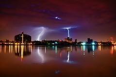 Lightning (mudpig) Tags: nyc newyorkcity longexposure ny newyork storm reflection rain brooklyn night geotagged queens eastriver gothamist lightning rayo thunder hdr nuevayork randallsisland wardsisland harlemriver cidadedenovayork mudpig stevekelley      lavilledenewyork stevenkelley