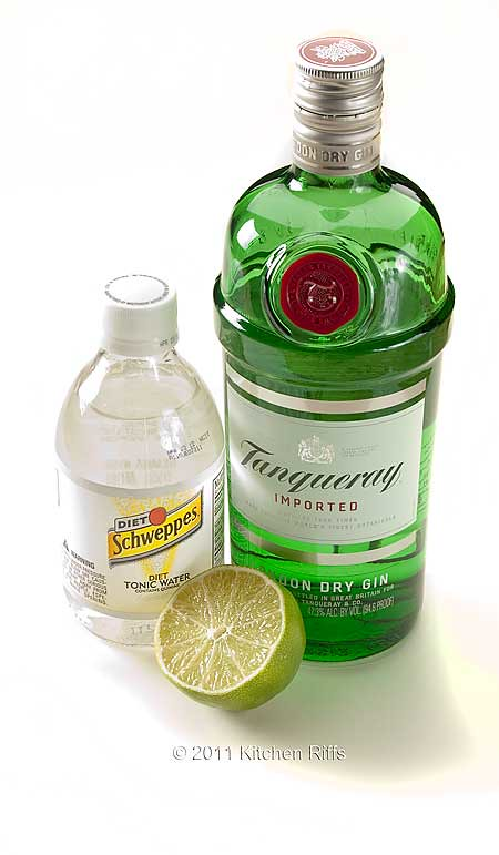 Ingredients for Gin and Tonic include Tanqueray Gin, Schweppe's Tonic Water, Lime