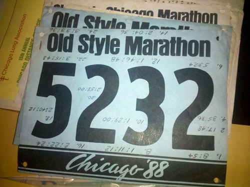 My uncle wrote his mile split times upside down on his bib while running!