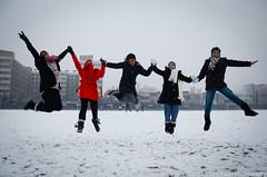 Snow Fun 4 (Manarianz5) Tags: china winter snow cold fun jump nikon university muslim hijab muslimah xian hassan nikkor amira vr afs 2010 dx haris groupjump f3556 khairunnisa 18105mm nadzirah d7000 xianjiaotonguniversity muslimahjumping