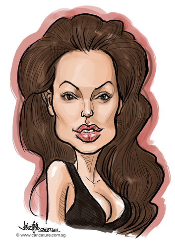 digital caricature colour sketch of Angelina Jolie