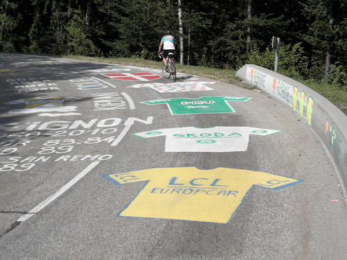 The road graffiti on the Telegraphe makes you feel like you're in the Tour itself. Photo: Andy Hodges
