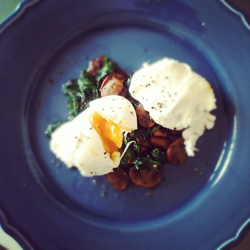 Poached egg with sautéed garlic mushrooms and spinach