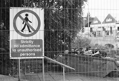 Rebuilding 1 (Joybot) Tags: blackandwhite bw white black film sign danger 35mm warning fence 50mm wire industrial no safety signage coventry skip fenced fujica pictogram westmidlands prohibited rubble bethel admittance midlands cv1 拆 bethelchurch stx1n コヴェントリー كوفنتري bwfp 考文垂 高雲地利 κόβεντρι کاونتری קובנטרי კოვენტრი คอเวนทรี 코번트리 ‪ковентри‬
