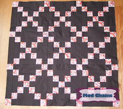 Mod Chains (Baby Quilt) (KMQuilts) Tags: pink brown patchwork expresso kona irishchain darkbrown strawberriesandchocolate freequiltpattern kmquilts