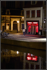 Leave the light on for ya (Brooks was here) Tags: reflection water amsterdam prostitute redlightdistrict
