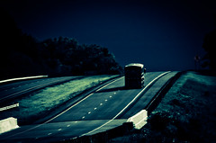 Long & Lonely Road (Truebritgal) Tags: road blue light sky tree up lines truck one mac nikon driving shadows hill indigo climbing journey lonely traveling nikkor vignette lonesome 18200mmlens d7000 truebritgal