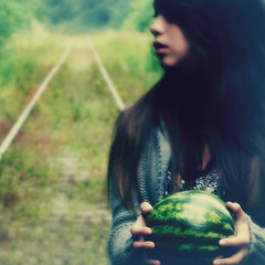 Nice melon! ({she tells stories}) Tags: abandoned girl traintracks dream surreal dreaming watermelon brunette dreamworld melon pictureaday day188 project365 robinthicke 3652011