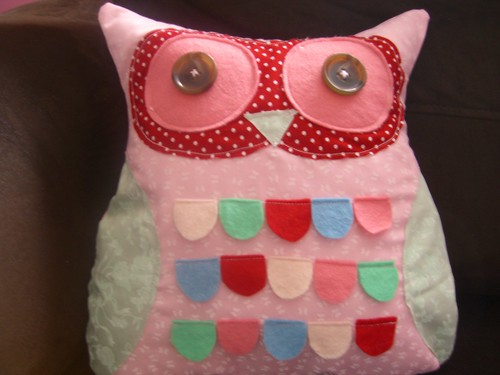 owl cushion by Aunt Angie Sews