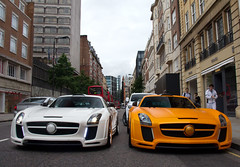 Times Two. (Alex Penfold) Tags: auto street camera uk summer fab orange white london cars alex sports car sport mobile canon photography eos mercedes design photo cool flickr image duo awesome flash picture super spot harrods knightsbridge arabic exotic photograph arab both spotted hyper supercar spotting sls numberplate exotica sportscar qatar sportscars supercars combo penfold sloane spotter 2011 hypercar 60d hypercars alexpenfold