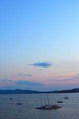 Moon and Big Tree Boating (MaineIslandGirl) Tags: light sunset summer usa lighthouse point island coast maine july islesboro 2011 grindle